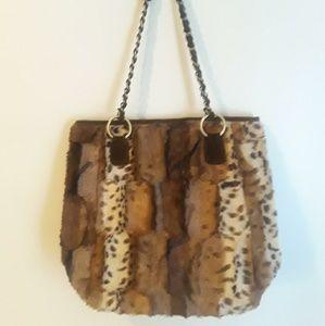 Handbags - Animal Printed Faux Fur Pocketbook